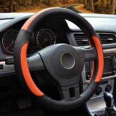 Brand New Auto Steering Wheel Covers Diameter 15 Inch Pu Leather For Full Seasons Black And Orange Intl