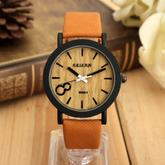 Autoleader Vintage Wooden Dial Casual brown Leather Quartz Wrist watch (Export)(Intl)