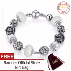 3407d4463 BAMOER 925 Silver Charm Bracelet & Bangle with Royal Crown Charm and Crystal  Ball White Beads