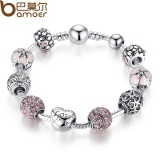 Bamoer Antique Silver Charm Bracelet Bangle With Love And Flower Crystal Ball Women Wedding Valentine S Day Gift Intl Compare Prices