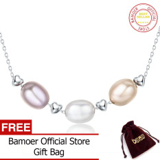 Price Comparisons Bamoer Genuine 925 Sterling Silver Love Friendship Family Freshwater Pearl Necklace Jewelry Scn075 Intl