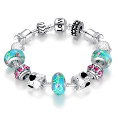 Bamoer Free Shpping Hot Sell 925 Silver Charm Bracelet Bangle For Women Glass Beads Fashion Love Diy Jewelry Pa1019.