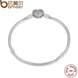 Buy Cheap Bamoer Pas906 Authentic 925 Sterling Silver Love Heart Chain Snake Bracelet Bangle 17Cm 18Cm 19Cm 20Cm Jewelry Intl
