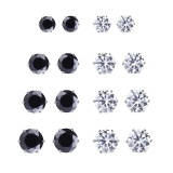 How Do I Get Beautiful And Handsome 6 Pairs Men And Women Fashion Zircon Stud Earrings Black And White Colors Color Black White Intl