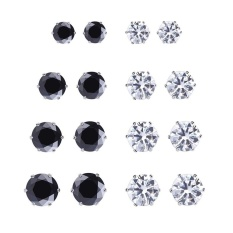 Compare Price Beautiful And Handsome 6 Pairs Men And Women Fashion Zircon Stud Earrings Black And White Colors Color Black White Intl On China