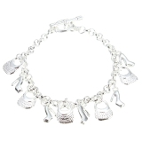 Price Beautiful Fashion 925 Sterling Silver Plated Charms Shoe Women Bracelet H108 Export Oem