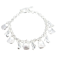 Buy Beautiful Fashion 925 Sterling Silver Plated Charms Shoe Women Bracelet H108 Export Oem Cheap