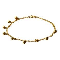 Bells Anklet Chain Ankle Bracelet Link Gold Tone 0.24