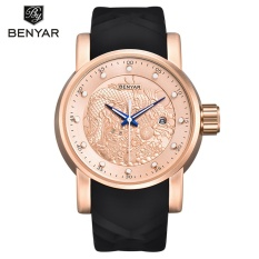 Benyar Luxury Brand Dragon Sculpture Date Men S Quartz Watch 30M Waterproof Silicone Strap Fashion Watch Relogio Masculino 5115 Intl Best Buy