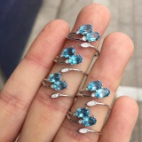 Compare Price Blue Topaz Natural Gift Adjustable 925 Sterling Silver Ring Intl Silverbene On China