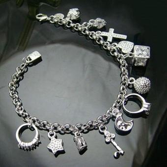 BODHI Women Fashion Gift Silver Plated Zircon Pendants Chain Bracelet Bangle Jewelry