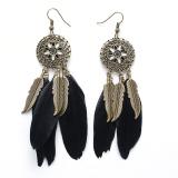 Bohemia Women Ethnic Feathers Hollow Drop Tassel Earrings Black Intl Vakind Cheap On China