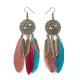 Recent Boheia Womensethnic Feather Hoow Drop Tae Earring
