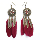 Price Comparisons Bohemia Women Ethnic Feathers Hollow Drop Tassel Earrings Red Intl