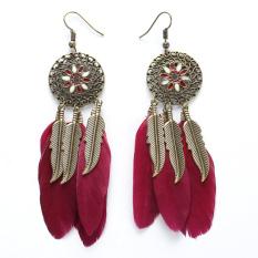 Price Bohemia Women Ethnic Feathers Hollow Drop Tassel Earrings Red Intl Vakind New