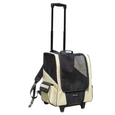 Bolehdeals Pet Dog Animal Trolley Carrier Stroller Travel Backpack Wheeled Cage Beige - Intl By Bolehdeals.