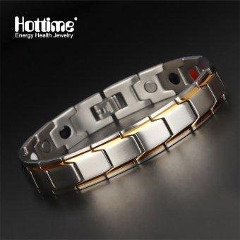 Brand Design Fashion Health Energy Bracelet Banglegermanium negative ion magnetic bracelet Men 316L Stainless Steel Bio Magnetic Bracelets Black And Gold Plated Jewelry 10124