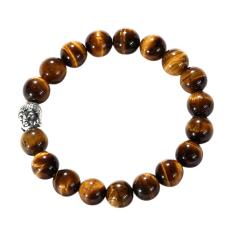 Buddha Head Tigers Eye Beaded Shamballa Hip Hop Stretch Bracelet Men(export) By Sportschannel.