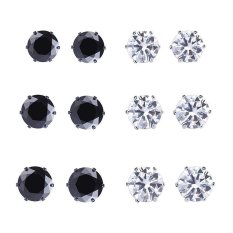 BUYINCOINS 6Pairs/Set Mens Women Stainless Steel Round Cubic Zircon Crystal Ear Studs Earrings Fashion