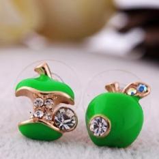BUYINCOINS Fashion Sweet Lovely Crystal Rhinestone Apple Core Ear Studs Earrings