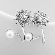 BUYINCOINS New 1Pair Women Fashion Jewelry Lady Elegant Pearl Snowflake Crystal Rhinestone Ear Cuff Clip on