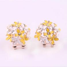 BUYINCOINS Rhinestone Blooming Ceramic Flowers Clovers Ear Stud Earrings Women Jewelry