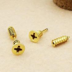 BUYINCOINS Single Fashion Unisex Fine Stainless Steel Whole Screw Stud Earring (Gold)