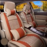 Discount Car Seat Covers Pu Leather Front Rear Full Set Auto Seat Covers For 5 Seats Vehicle Interior Accessories For Summer Cool Beige And Orange Intl Lucasng