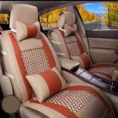 Who Sells The Cheapest Car Seat Covers Pu Leather Front Rear Full Set Auto Seat Covers For 5 Seats Vehicle Interior Accessories For Summer Cool Beige And Orange Intl Online