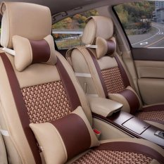 Discounted Car Seat Covers Pu Leather Front Rear Full Set Auto Seat Covers For 5 Seats Vehicle Interior Accessories For Summer Cool Brown And Beige Intl
