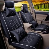 Discount Car Seat Covers Set Pu Leather Universal Auto Seat 5 Covers Full Set Bucket Anti Slip Black And White Size S Intl Luowan On China