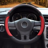 Car Steering Wheel Cover Diameter 15 Inch Pu Leather For Full Seasons Black And Red Size L Intl Coupon Code