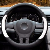 Purchase Car Steering Wheel Cover Diameter 15 Inch Pu Leather For Full Seasons Black And White Size L Intl