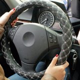 Car Steering Wheels Cover Pu Leather Red Wine Series For All Season White String Size M Intl Best Price