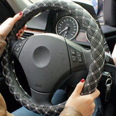 Great Deal Car Steering Wheels Cover Pu Leather Red Wine Series For All Season White String Size M Intl
