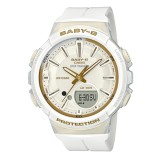 Latest Casio Baby G For Running Series Step Tracker White Resin Strap Watch Bgs100Gs 7A Bgs 100Gs 7A