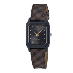 Price Casio Ladies Standard Analog Checkered Design Leather Cloth Strap Watch Lq142Lb 1A Lq 142Lb 1A Casio New