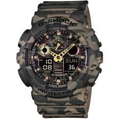 Review Casio Gshock Military Green Camouflage Series With Gold Analogue Hands Ga100Cm 5 Singapore
