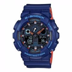 Sale Casio Gshock Navy Blue With Hidden Striking Orange Two Tone Colour Ga100L 2 Casio G Shock Cheap