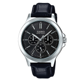 Casio Men S Standard Analog Black Leather Strap Watch Mtpv300L 1A Mtp V300L 1A Compare Prices