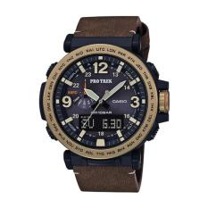 Casio Protrek Prg 600 Series Triple Sensor Version 3 Brown Leather Strap Watch Prg600Yl 5D Prg 600Yl 5D Price Comparison