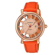 Low Price Casio Sheen 3 Hand Analog With Swarovski® Crystals Leather Strap Watch She4047Pgl 4A