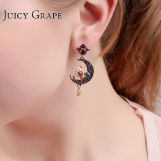 Buy Female Enamel Owl Moon Stud Earring On China