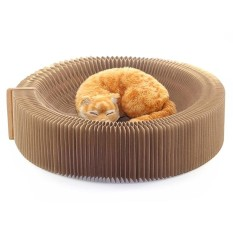 Best Price Cat Scratcher Collapsible Accordion Designed Corrugated Cardboard Cat Bed Cat Scratching Toy (Brown) Intl