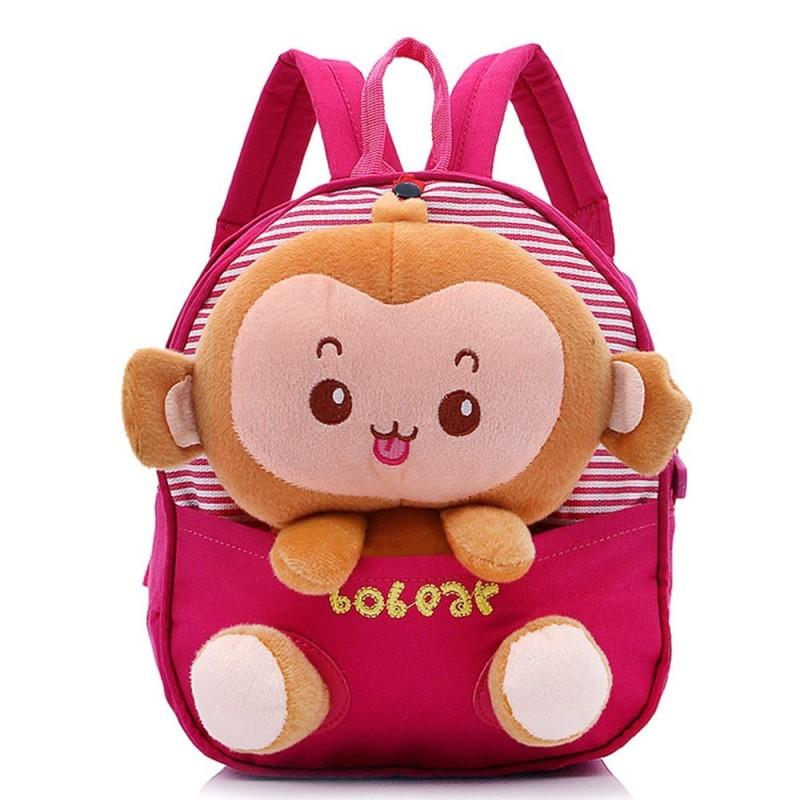 Children Babie Kids Cartoon Monkey Shape Canvas School Bags Backpack Rucksack Satchel Book Bag Red - intl
