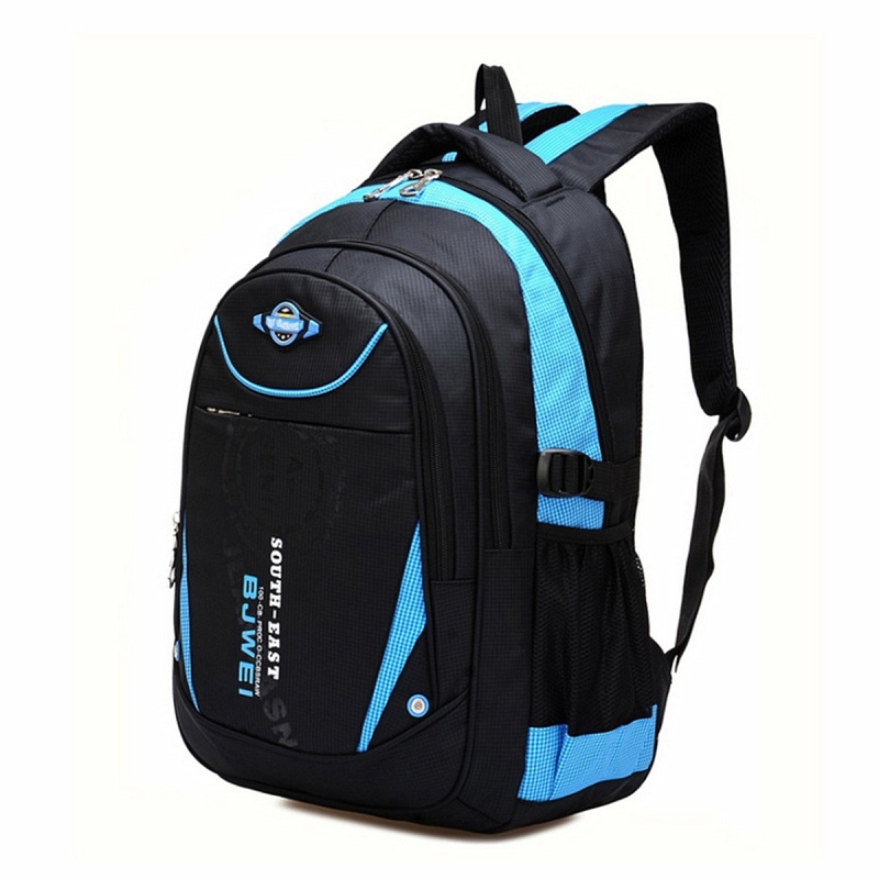 Children Boys Student Waterproof Backpack School Bookbag Rucksack Shoulder Bag  Blue