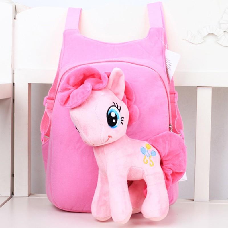 Children Kids Baby Girls Cute 3D Horse Cartoon Pony Short Plush Schoolbag School Bag Backpack for 3-7 Years Old Kids Pink - intl
