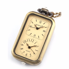 Purchase Classic Retro Bronze Rectangle Dial Dual Time Zone Movement Pocket Watch Men Lady Jewelry Watches Fob Chain Travel Gift Wpk040 Intl Online