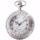 Classic Silver White Roman Numerals Hollow Case Hunter Quartz Men Craft Pendant Fob Chain Clip Pocket Watch Jewelry Clock Wpk180 Intl Best Buy