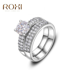Best Offer Classic White Double Row Rings Cubic Overlap Zircon Crystal Couple Rings For Women Rings Size 5 Export Intl